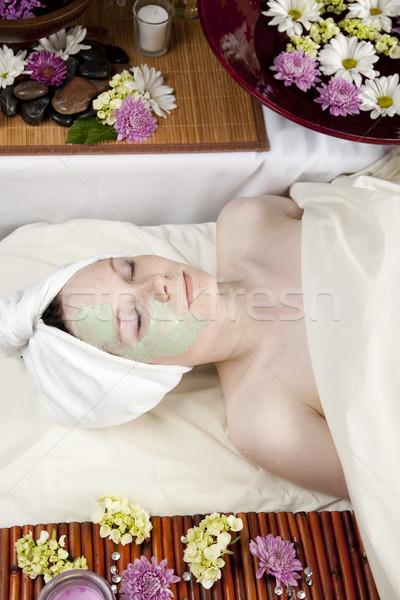 Cara máscara jóvenes caucásico mujer mentiras Foto stock © elvinstar