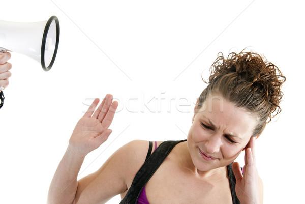 Mulher megafone atraente caucasiano alguém menina Foto stock © elvinstar