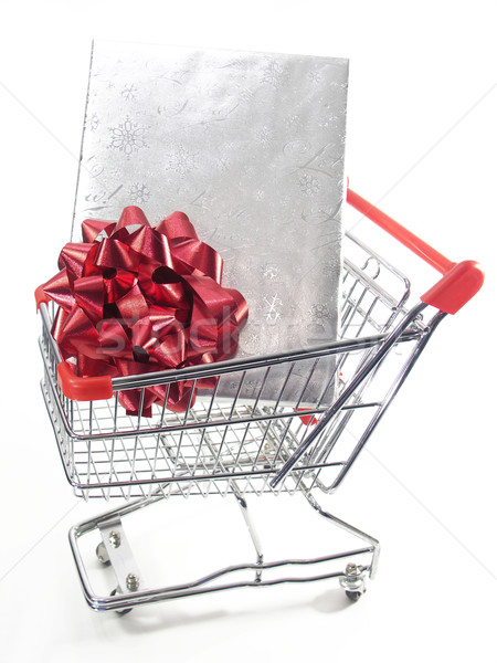 ショッピング クリスマス ボックス 銀 赤 ストックフォト © elvinstar