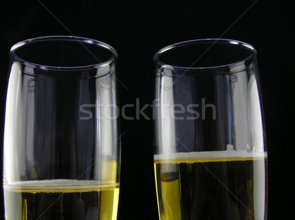 Champanhe dois preto casamento vinho óculos Foto stock © elvinstar