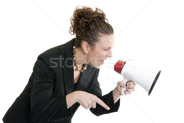 Foto stock: Enojado · jefe · atractivo · caucásico · mujer · de · negocios