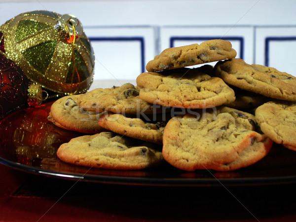 Caliente horno chocolate cookies placa Foto stock © elvinstar