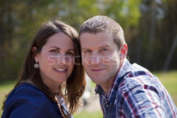 Casal ao ar livre atraente caucasiano juntos parque Foto stock © elvinstar