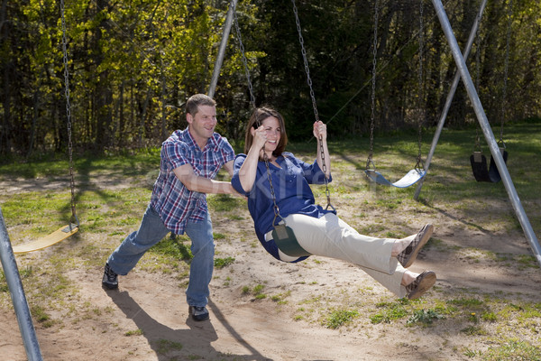 Marido esposa parque feliz caucasiano casal Foto stock © elvinstar