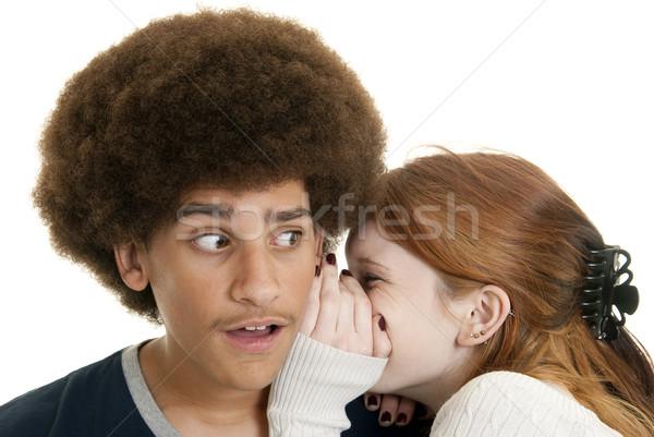 Segredo jovem caucasiano menina adolescente menino Foto stock © elvinstar