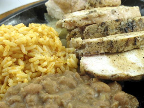 Foto stock: Frango · arroz · feijões · jantar · carne · jantar