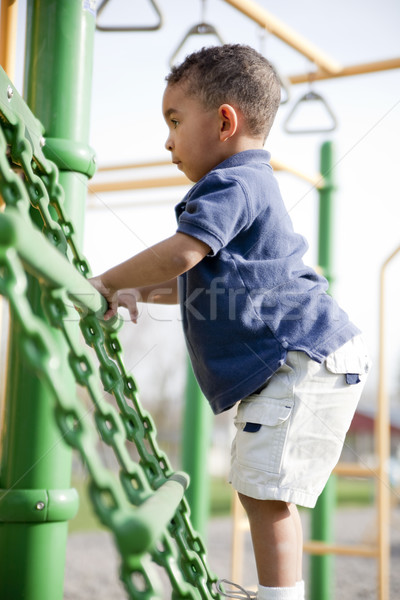 Nino parque cute jugando sonriendo masculina Foto stock © elvinstar