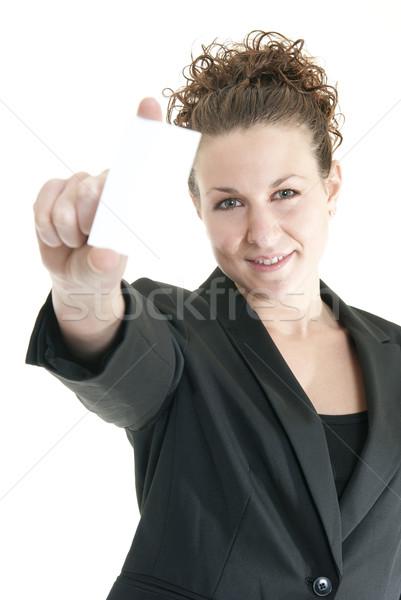 Mujer tarjeta de visita atractivo caucásico superficial Foto stock © elvinstar