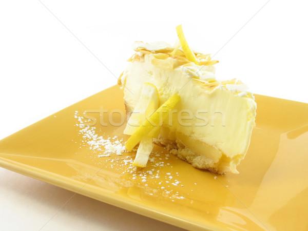 Limón pie amarillo placa aislado blanco Foto stock © elvinstar