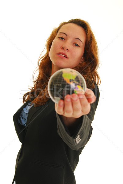 Mujer mundo atractivo pequeño Foto stock © elvinstar