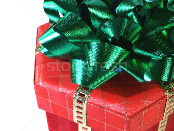 Navidad sorpresa verde arco rojo presente Foto stock © elvinstar