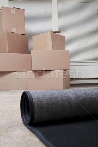 Tapete vazio casa caixas casa empacotar Foto stock © elvinstar