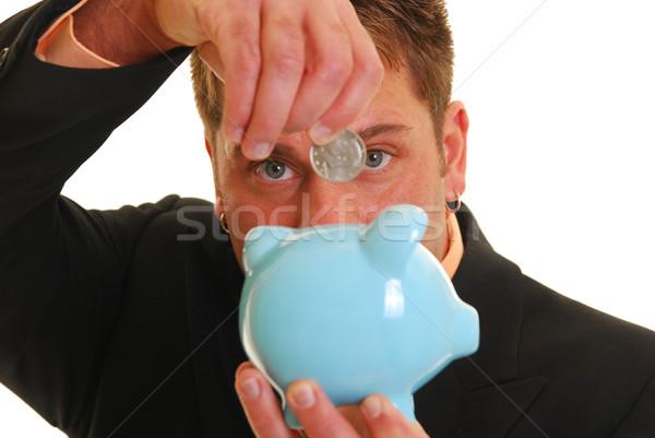 Dinheiro banco caucasiano mão cinqüenta centavo Foto stock © elvinstar