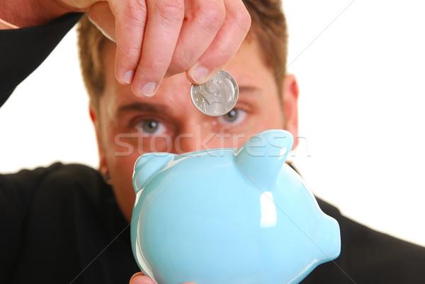 Dinero banco caucásico mano cincuenta centavo Foto stock © elvinstar