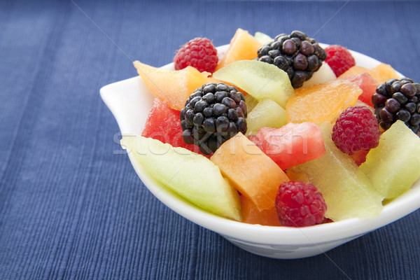 Berries and diced melon in a bowl on the table Stock photo © elvinstar