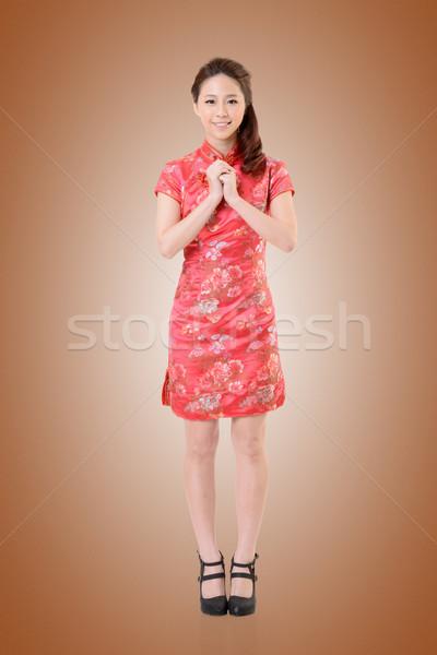 cheongsam woman Stock photo © elwynn