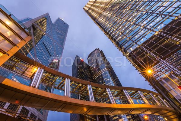 香港 市泊 シーン 現代 橋 超高層ビル ストックフォト © elwynn