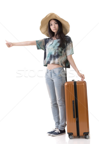 woman hitchhiking Stock photo © elwynn