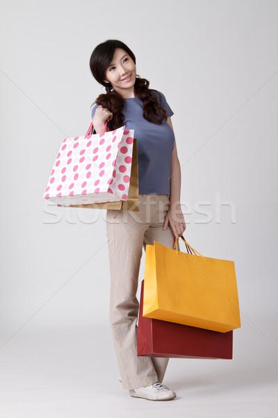 Сток-фото: счастливым · торговых · китайский · Lady · мешки
