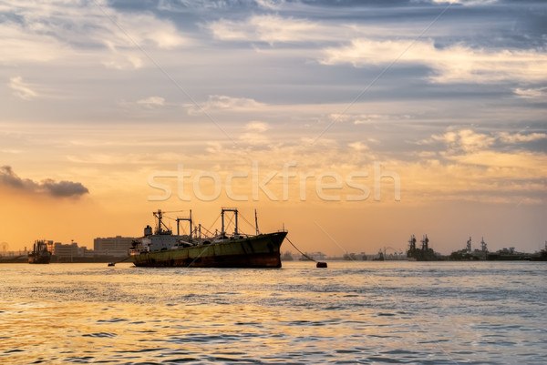 Freighter anchored Stock photo © elwynn