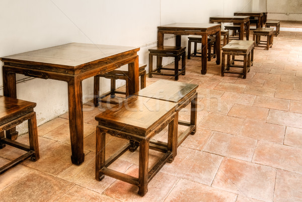 Chinese wooden chair and table Stock photo © elwynn