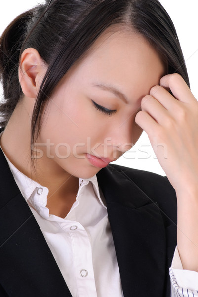 Photo stock: Triste · femme · d'affaires · main · tête · portrait