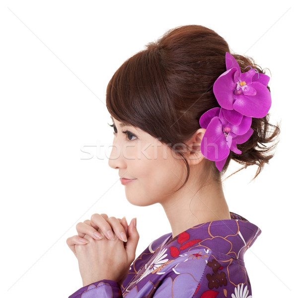 Japaneses woman praying Stock photo © elwynn