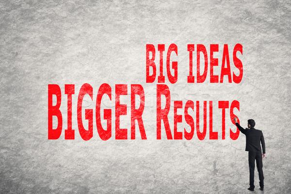 write words on wall, Big Ideas Bigger Results Stock photo © elwynn