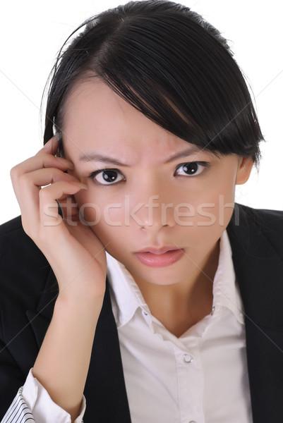 Photo stock: Anxieux · affaires · femme · d'affaires · visage · portrait
