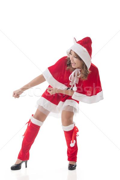 Christmas girl pull something Stock photo © elwynn