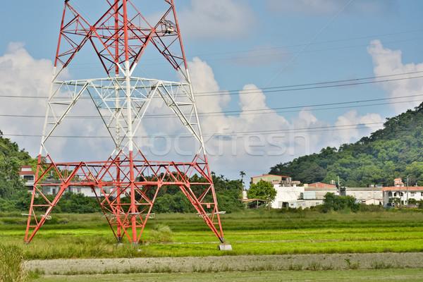 Távvezeték vidék város égbolt fa utca Stock fotó © elwynn