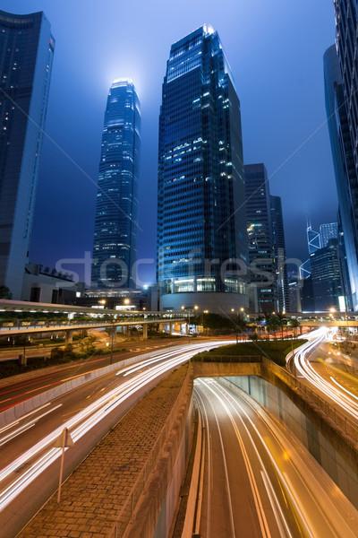 Night City scena samochody ruchu zamazany świetle Zdjęcia stock © elwynn