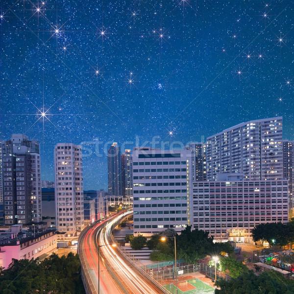 Night City scena samochody świetle Hongkong asia Zdjęcia stock © elwynn