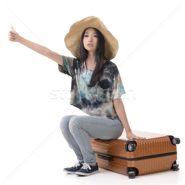 woman hitchhiking Stock photo © elwynn