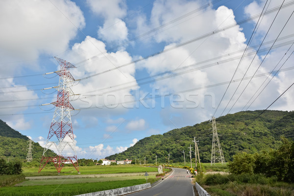 Távvezeték vidék út égbolt fa utca Stock fotó © elwynn