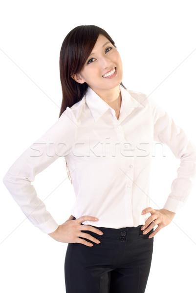 Gelukkig glimlachend zakenvrouw portret witte vrouw Stockfoto © elwynn
