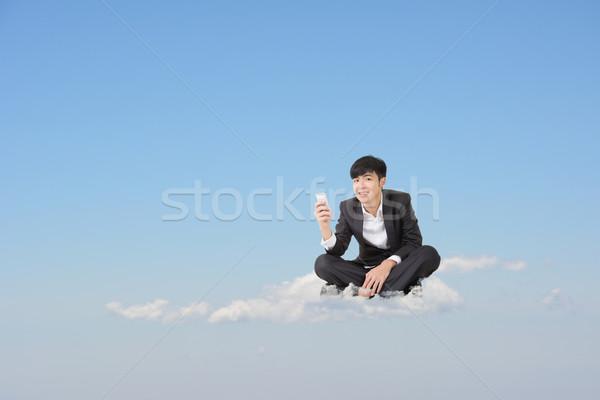 Foto d'archivio: Nuvoloso · telefono · parlare · asian · uomo · d'affari · sedersi