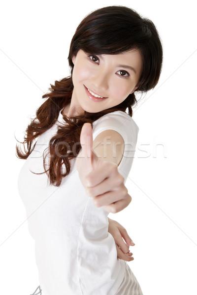 Сток-фото: молодые · красивая · женщина · китайский · отлично · жест · стороны