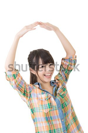 Stock photo: Photo sign made by hands of asian woman
