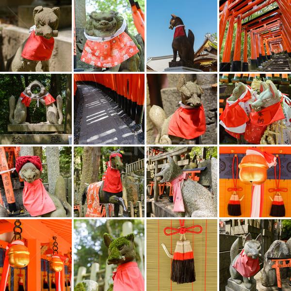 Foto stock: Coleção · santuário · raposa · estátua · papel · mil