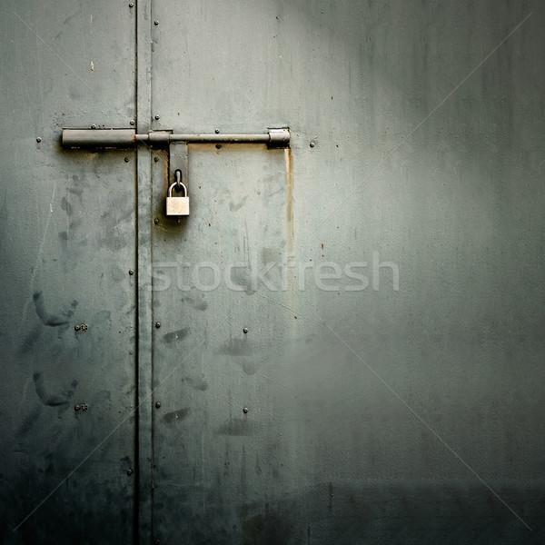 Foto stock: Metal · porta · trancar · sujo · estilo