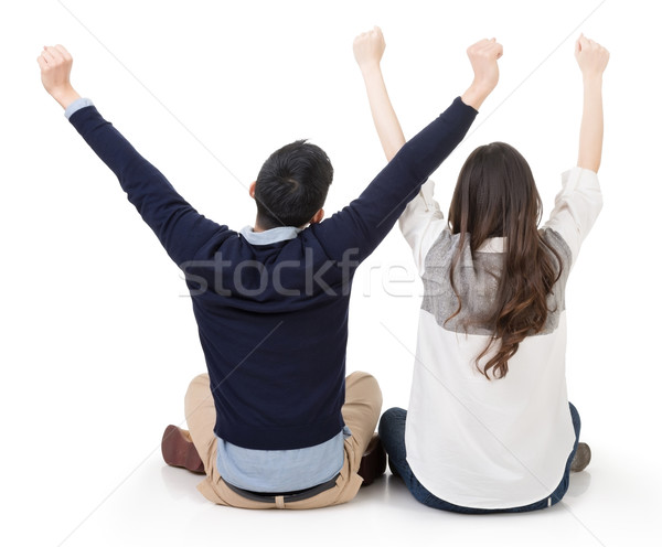 Asian couple sit on ground Stock photo © elwynn