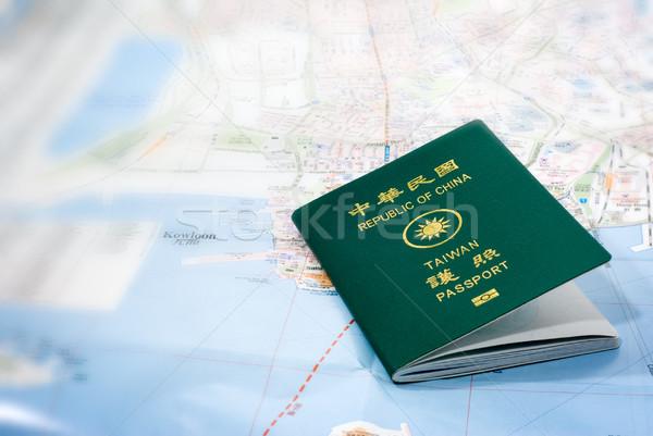 taiwan passport on a map Stock photo © elwynn