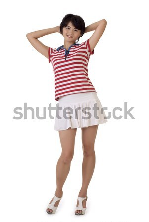 Asian dziewczyna uśmiechnięta twarz stwarzające portret Zdjęcia stock © elwynn