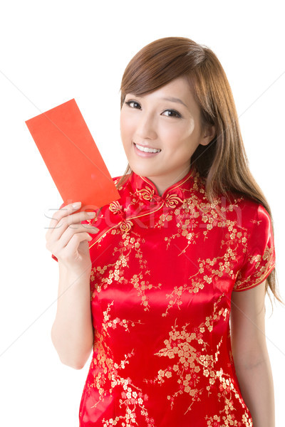Rood envelop chinese vrouw aantrekkelijk jurk Stockfoto © elwynn