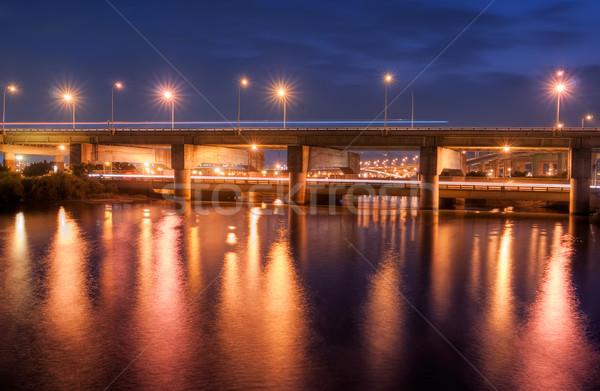 Night City most rzeki piękna światła wody Zdjęcia stock © elwynn