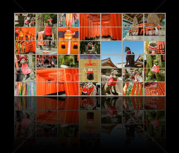 Foto stock: Santuário · coleção · tv · parede · raposa · estátua