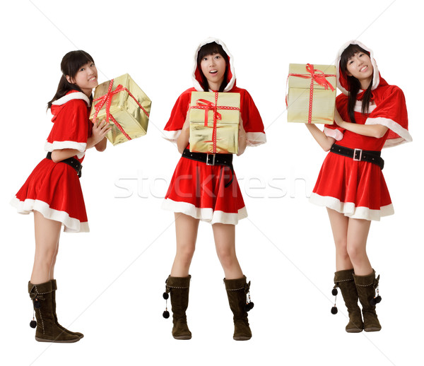 Christmas girl with gifts Stock photo © elwynn