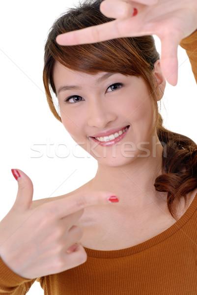 Asian piękna ramki ręce szczęśliwy Zdjęcia stock © elwynn