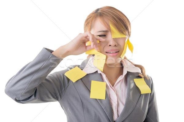 Notatka dziewczyna business woman wiele żółty Uwaga Zdjęcia stock © elwynn